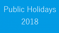 Public Holidays 2018 - all states & territories